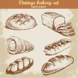 Skizzenart-Bäckereisatz der Weinlese Hand gezeichneter Stockbild
