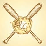 Skizzenbaseballball, -handschuh und -schläger Stockfotografie