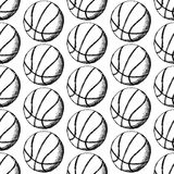 Skizzenbasketballball, vector nahtloses Muster Stockfotografie