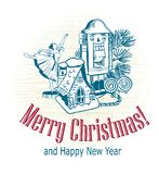 Skizzenbaumspielwarennussknackerballerina-Hausschnee des Weihnachtskarten-Vektorretrostils gezogener stockbild