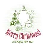 Skizzenbaumteekannen-Schalentee des Weihnachtskarten-Vektorretrostils gezogener lizenzfreies stockfoto