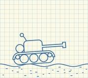 Skizzenbehälter Zeichnung der Militärmaschine Auch im corel abgehobenen Betrag lizenzfreie abbildung