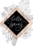 Skizzenblumen mit Handschriftphrase in der Raute Stockfotografie
