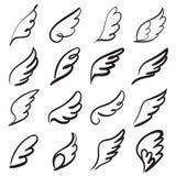 Skizzenengelsflügel Engelsfederflügel, Vogeltätowierungsschattenbild Lineare Fliege beflügelte Engel, Himmelshandgezogenes Gekrit stock abbildung