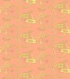Skizzenfahrrad, nahtloses Muster der Vektorweinlese Stockfotos