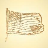 Skizzenflagge von USA, Vektorhintergrund Lizenzfreie Stockbilder