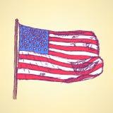 Skizzenflagge von USA, Vektorhintergrund Stockfotografie