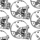 Skizzenfootball-helm, vector nahtloses Muster Stockfoto