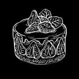 Skizzenfruchtkuchen, Beere Hand gezeichneter Tintenerdbeerkuchen Stockfotografie