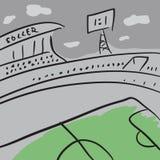 Skizzenfußballstadion mit Feld und Tribünen lizenzfreie stockfotos