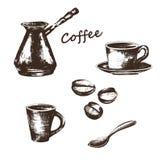Skizzenillustration auf dem Thema des Kaffees stock abbildung