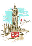 Skizzenillustration von Big Ben-Turm Lizenzfreie Stockfotografie