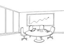 Skizzeninnenillustration der grafischen Kunst des BüroKonferenzzimmers schwarze weiße Stockbilder