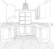 Skizzenküche Planküche Zeitgenössische Küchenskizze der Illustration Lizenzfreie Stockfotos