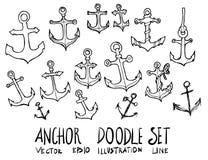Skizzenlinie Gekritzel der Ankerillustration Hand gezeichnete Stockbild
