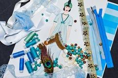Skizzenmodedesignerkleidung Lizenzfreies Stockbild