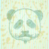 Skizzenpanda mit dem Schnurrbart, Vektorhintergrund Stockfoto