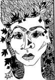 Skizzenphantasieporträt des weiblichen Gesichtes Vektorbild, eigenhändig gezeichnet Lizenzfreies Stockbild