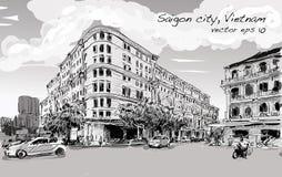 Skizzenstadtbild von Saigon-Stadt Ho Chi Minh-Show Union Square Lizenzfreies Stockfoto