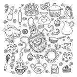 Skizzenvektor stellte Hand gezeichnete Gekritzelkarikatur auf das Küchenthema ein Stockbild