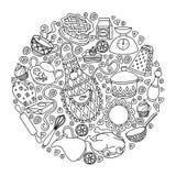 Skizzenvektor stellte Hand gezeichnete Gekritzelkarikatur auf das Küchenthema ein Lizenzfreie Stockfotografie