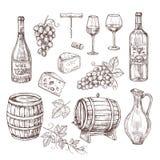 Skizzenweinsatz Traube, Weinflaschen und Weinglas, Fass Vektorsatz der Handgezogener Weinlese alkoholische Getränke lizenzfreie abbildung