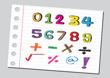 Skizzenzahlen und Mathematiksymbole Stockbild