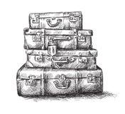Skizzezeichnung der Gepäckbeutel Lizenzfreie Stockfotos
