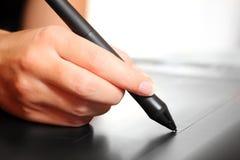 Skizzieren auf einer digitalen Tablette Stockfoto