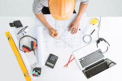 Skizzieren eines Bauvorhabens Lizenzfreie Stockfotos