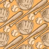 Skizzieren Sie Baseballball, Schläger und Handschuh, nahtloses Muster Lizenzfreie Stockfotografie