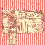 Skizzieren Sie Big Ben auf Fliese mit BRITISCHER Flagge, Vektorhintergrund Stockfoto
