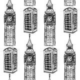 Skizzieren Sie Big Ben und rufen Sie Kabine, nahtloses Muster an Lizenzfreies Stockbild