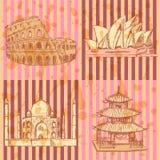 Skizzieren Sie chinesischen Tempel, Kolosseum-, Taj Mahal- und Sydney-Oper, vect Lizenzfreies Stockbild