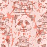 Skizzieren Sie chinesischen Tempel und Panda, nahtloses Muster Lizenzfreie Stockfotografie