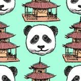 Skizzieren Sie chinesischen Tempel und Panda, nahtloses Muster Lizenzfreies Stockfoto