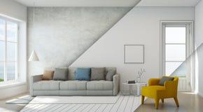Skizzieren Sie Design des Seeansichtwohnzimmers im modernen Strandhaus, Luxusinnenraum des Ferienheims Lizenzfreies Stockfoto