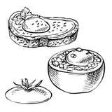 Skizzieren Sie die Eier, die in der Tomate, im Brot gebacken werden Eisandwiche Stockbilder