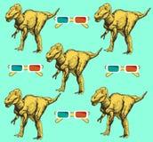 Skizzieren Sie Dinosaurier und Gläser 3d in der Weinleseart, nahtloses Muster des Vektors Lizenzfreies Stockfoto