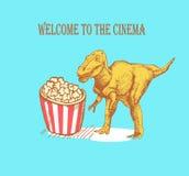Skizzieren Sie Dinosaurier und Popcorn in der Weinleseart, Vektor Stockbilder