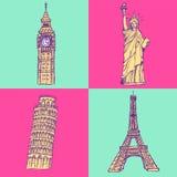 Skizzieren Sie Eifel-Turm, Pisa-Turm, Big Ben und Freiheitsstatuen, v Stockbild