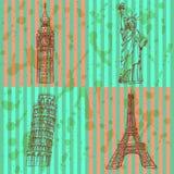 Skizzieren Sie Eifel-Turm, Pisa-Turm, Big Ben und Freiheitsstatuen, v Stockfoto