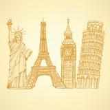 Skizzieren Sie Eifel-Turm, Pisa-Turm, Big Ben und Freiheitsstatuen, v Stockbilder