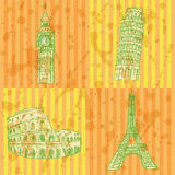 Skizzieren Sie Eifel-Turm, Pisa-Turm, Big Ben und Kolosseum, Vektorsatz Stockbilder