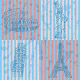 Skizzieren Sie Eifel-Turm, Pisa-Turm, Coloseum und Freiheitsstatuen, Stockfotos