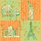 Skizzieren Sie Eiffelturm, Kolosseum, Taj Mahal und Freiheitsstatuen, v Stockbilder