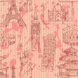 Skizzieren Sie Eiffelturm, Pisa-Turm, Big Ben, Taj Mahal, Kolosseum, C Stockfotografie