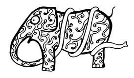Skizzieren Sie einen lustigen Elefanten mit einem sehr langen Stamm stock abbildung