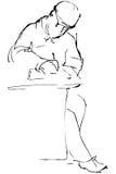 Skizzieren Sie einen Mann in einer Schutzkappe wird genäht unten am Tisch stock abbildung