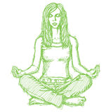Skizzieren Sie Frauenmeditation in der Lotoshaltung Lizenzfreie Stockbilder